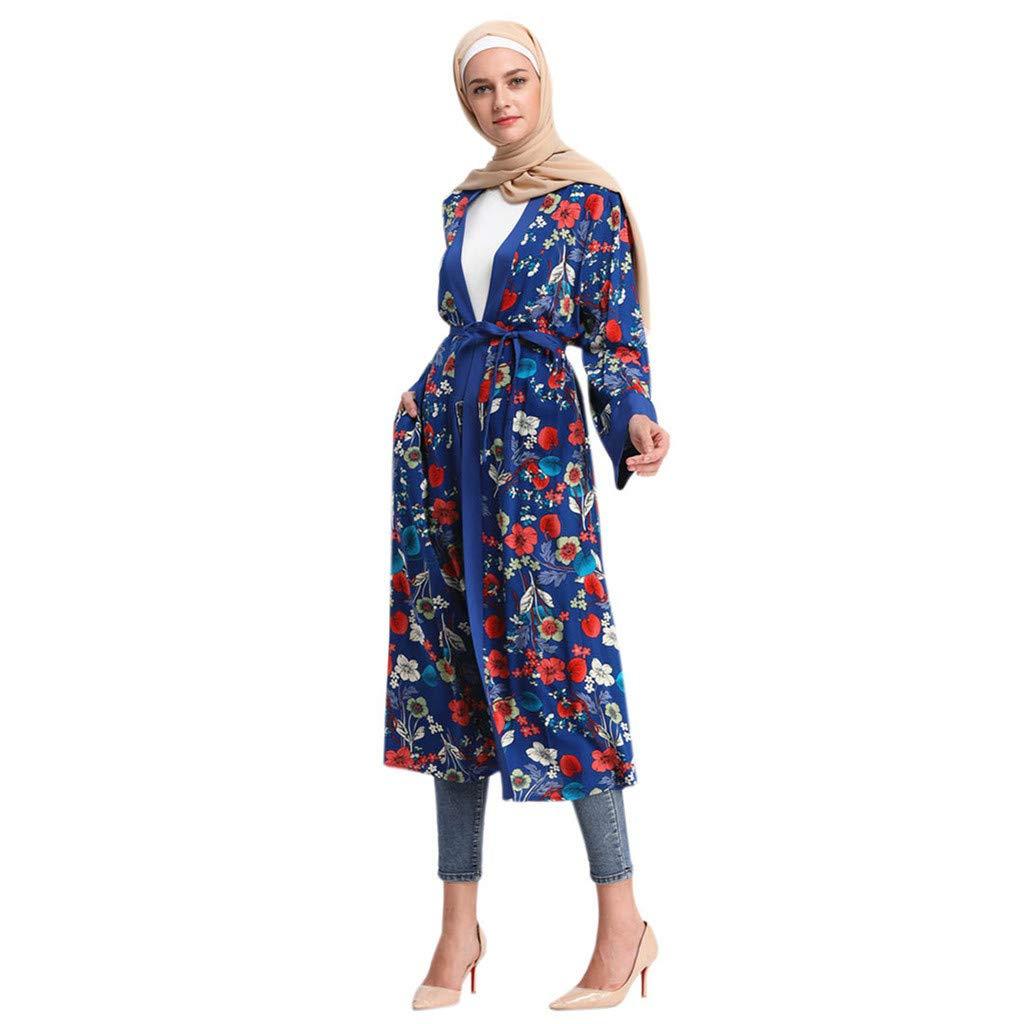 ZOMUSAR Muslim Clothes, Bell Sleeve Knit with Pearls Loose Jilbab Plain Abaya Muslim Islamic Dress Women Blue