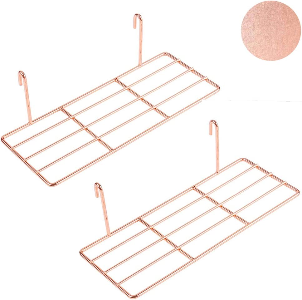 Set of 2 Rose Gold Shelf for Wall Grid, Multifunction Grid Board Decor, Can be Used to Display Succulents, Cactus Plants, Artwork