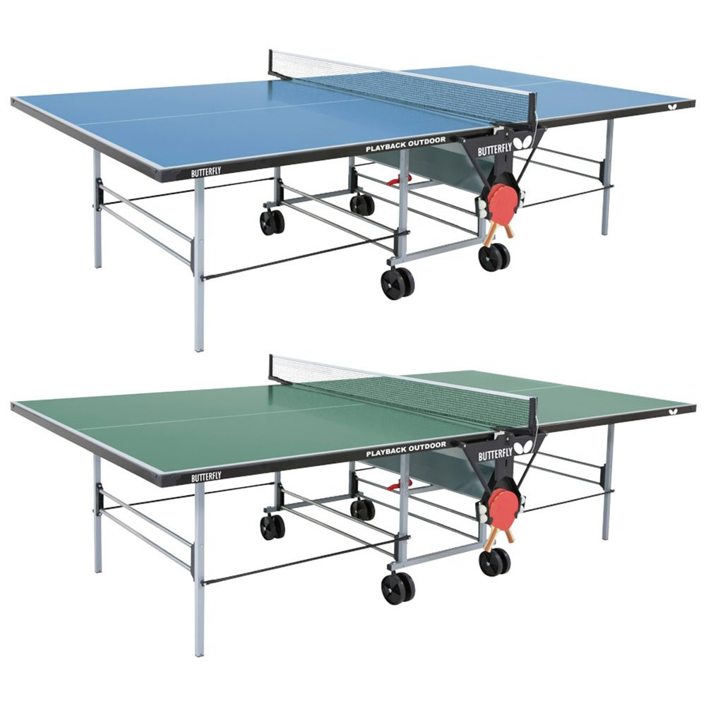 Butterfly Playback Rollaway Outdoor Table Tennis Table – 10 Year Warranty Top - 3 Year Warranty Frame – All Weather Ping Pong Table, Blue