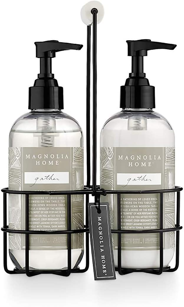 Magnolia Home Fragrance Gather Scent 8 Ounce Hand Wash and Lotion Sink Caddy Set