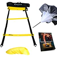 AGILITY LADDER Bundle By Trained 6 Sports Cones , Free Speed Chute, Agility Drills eBook and Carry Case