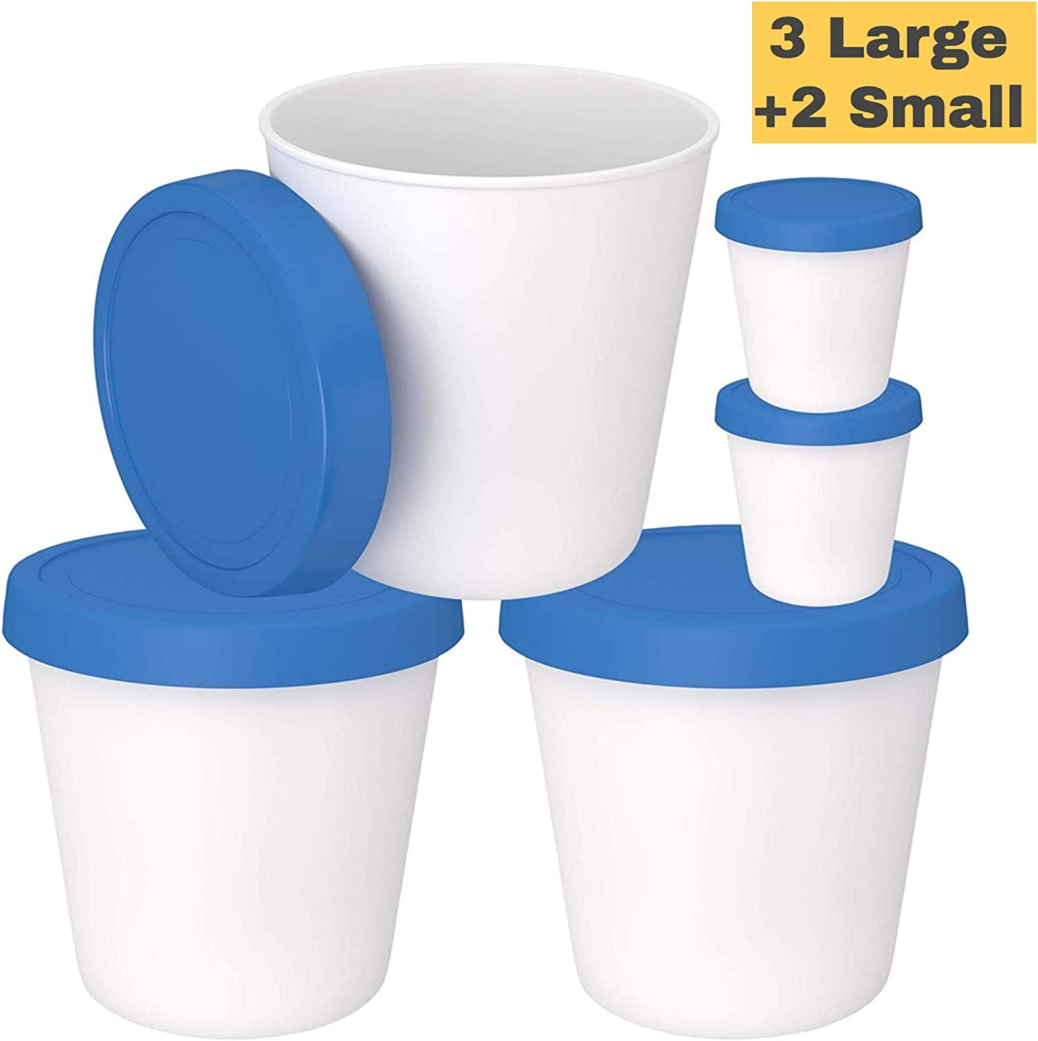 Ice Cream Freezer Storage Containers with Silicone Lids (3 Pack, 1- Quart Each) + 2 Serving Cups – Dishwasher Safe - Large Reusable BPA-Free Tub for Homemade Ice-Cream