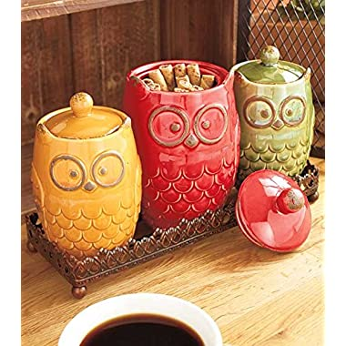 4- Pc. Owl Canisters and Tray Set