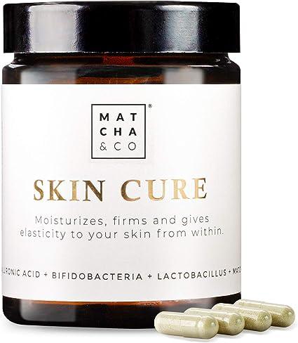 Skin Cure | Colágeno Tipo I Vegetariano con Probióticos, Elastina, Ácido Hialurónico, Té matcha y Vitamina B2 | Antiaging, antiarrugas, anti ...