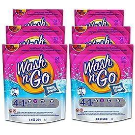 Wash 'n Go Liquid Detergent Singles Fresh Scent, 24 Count x 6 (144 Count Total)