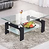 Black Glass Coffee Table Mecor Rectangle Glass Coffee Table-Modern Side Coffee Table with Lower Shelf Black Wooden Legs-Suit for Living Room