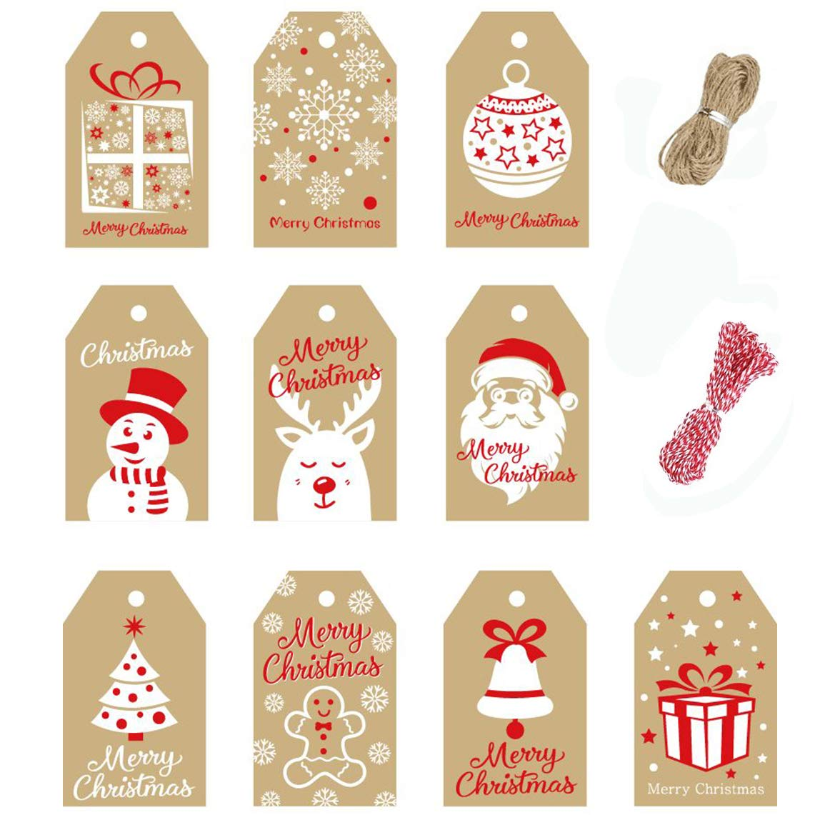 VEYLIN 200 Pcs Christmas Paper Gift Tags Christmas Hang Name Tags Label with Twine for DIY Xmas Present