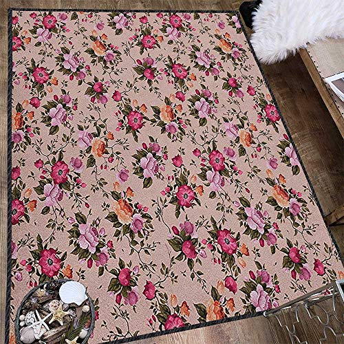 Flower Colorful Area Rug,Floral Pattern with Roses Twig Warm Colors Flower Arrangement Bouquets Waterproof and Easy Clean Tan Pink Dark Green 71