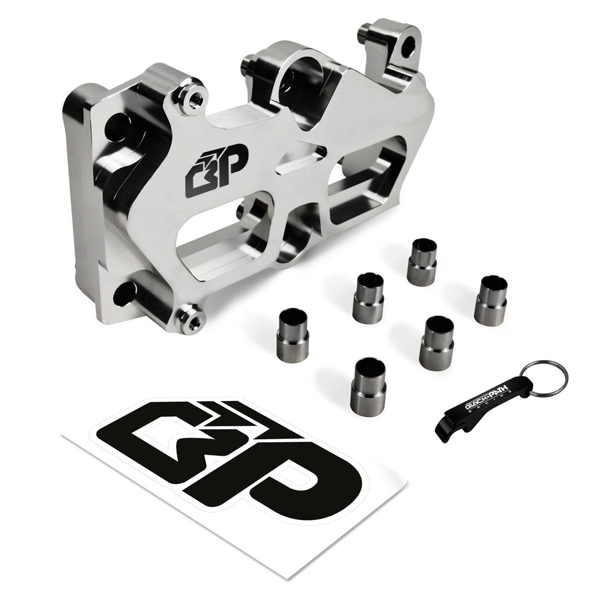 BlackPath - Civic + Integra Engine Main Block Girdle + Dowel Pin Kit for VTEC Swap Honda + Acura B16 + B17 + B18 + B20 Engine Guard (Black) T6 Billet Black Path