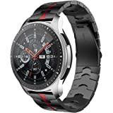 RABUZI Compatible for Samsung Galaxy Watch 45mm/46mm bands,22mm Enamel Process Stainless Steel Metal Watch Strap…