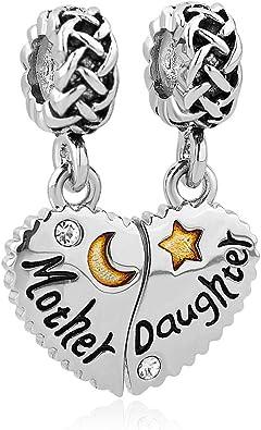 Sug Jasmin Heart I Love You Mum Charms Beads Fits European Charm Bracelet