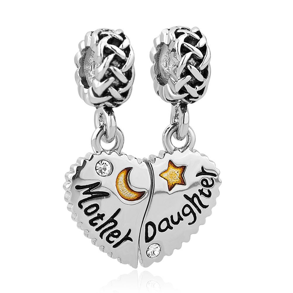 Charmed Craft Heart Mother Daughter Charm I Love You To The Moon And Back Beads pandöra charms CCA_DPC_MY803