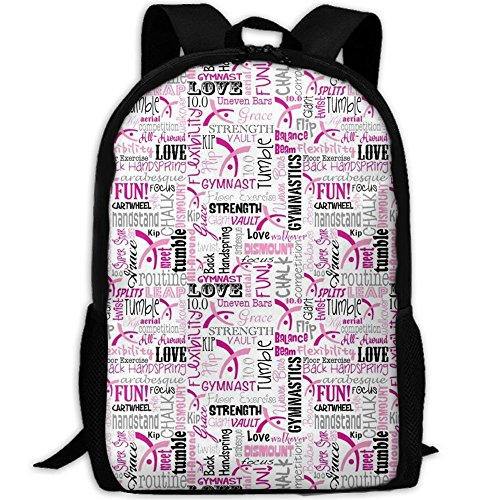 Gymnastics School Backpack - Unisex Student Stylish Laptop Book Bag Daypack For Teen Boys And Girls by SAPLA