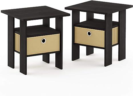 Amazon Com Furinno End Table Bedroom Night Stand Petite Espresso Set Of 2 Furniture Decor