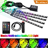 under light car - Openuye Car LED Strip Light, 4pcs 48 LED DC 12V Multicolor Music Car Interior Light LED Under Dash Lighting Kit with Sound Active Function and Wireless Remote Control, Car Charger Included