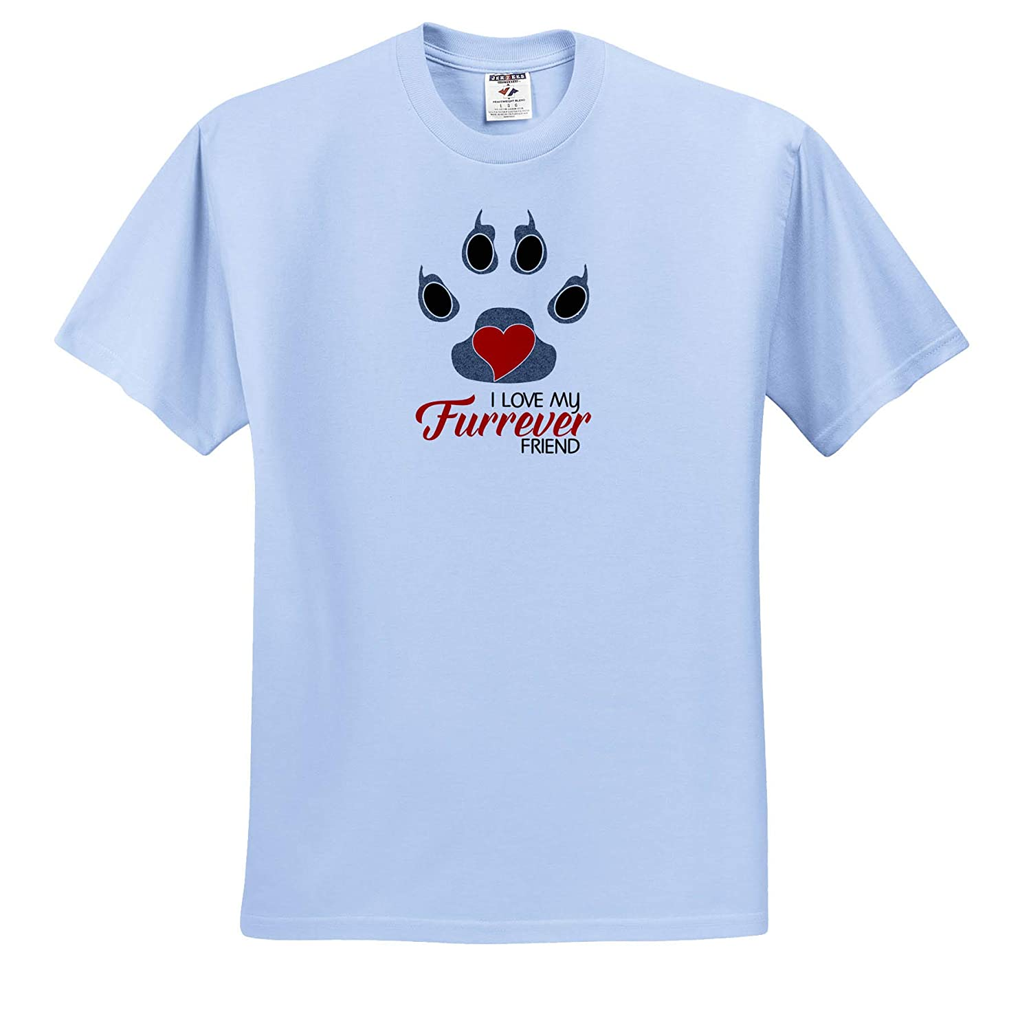 Adult T-Shirt XL 3dRose Doreen Erhardt Dogs Dog Lover Paw Print I Love My Furrever Friend Red with Gray ts/_310181