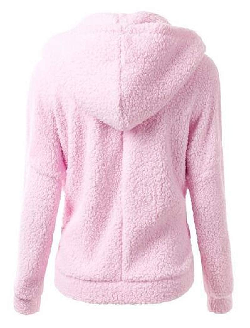 BU2H Women Full Zip Plus Size Fuzzy Plain Hoodies Sweatshirts Coat Jacket