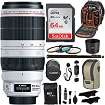 "Canon EF 100-400mm f/4.5-5.6L IS II USM Lens + Sandisk 64GB + Ritz Gear USB Reader/Writer + 72"" Monopod + Polaroid Optics 77mm 4 Piece Filter Set Kit + Polaroid Accessory Bundle"