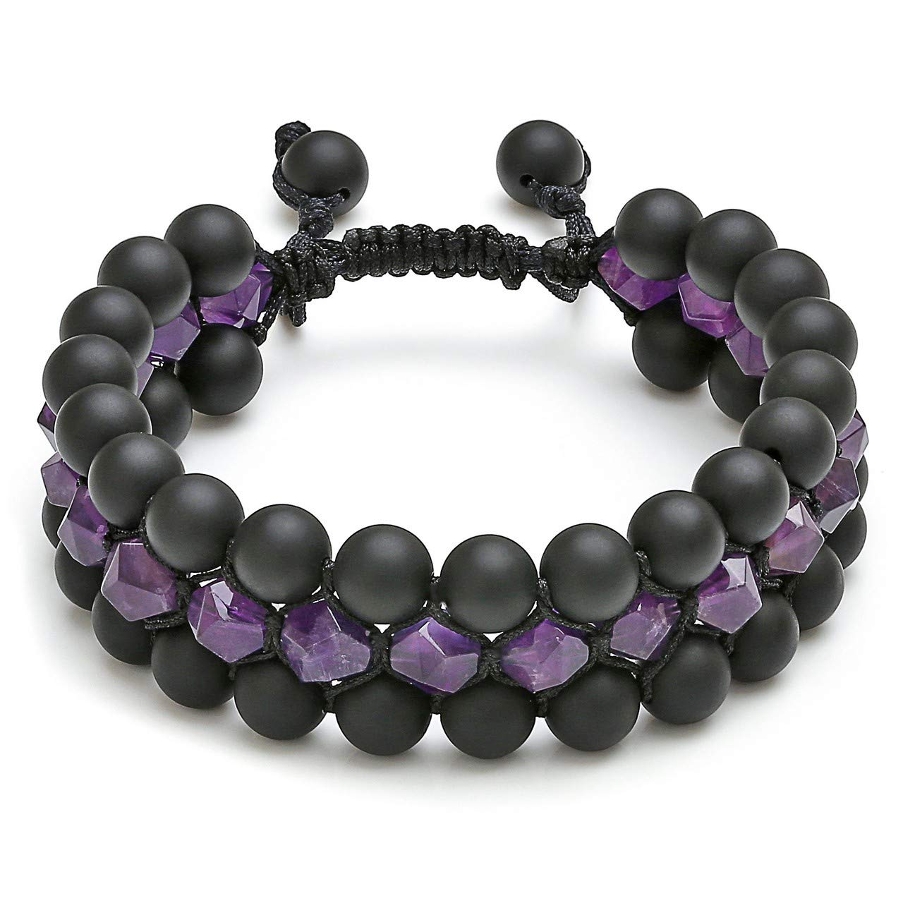 CAT EYE JEWELS Mens Beaded Bracelets Adjustable Layered 8mm Natural Healing Stones Beads for Men Women