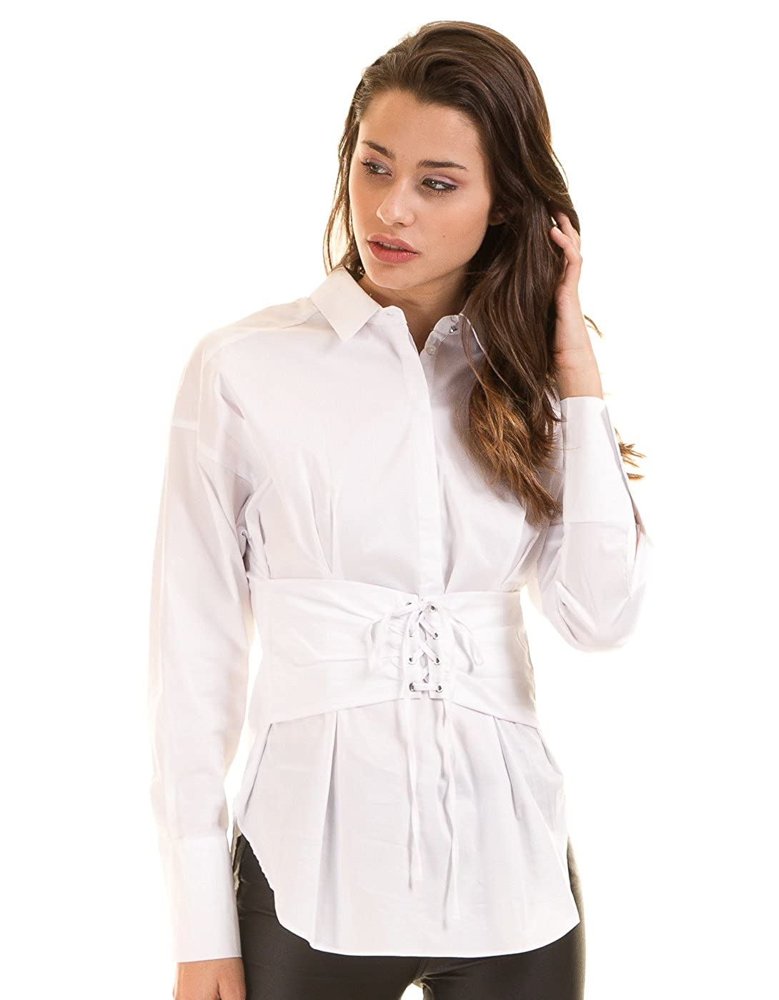 Morgan de Toi Camisa Blanca Popelina con fajín (Blanco - 40): Amazon.es: Ropa y accesorios