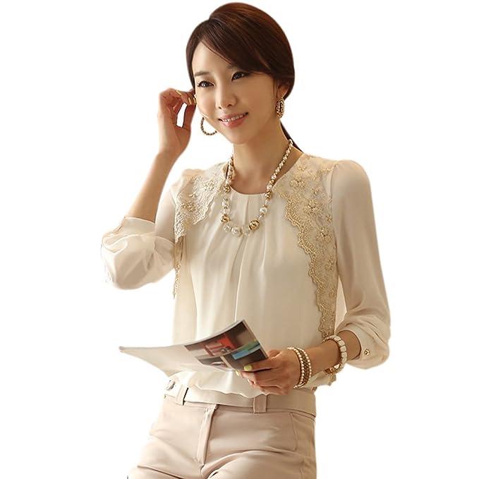 NUEVO Moda Mujeres Vintage largo Armel Sheer hemds Punta Camiseta gasa blusa Blanco blanco