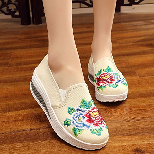 White Women embroidered shoes Rice shoes casual Retro wYOZqY7xr