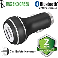 RNG EKO GREEN Smart GPS Positioning 3.4 A Dual USB Car Charger with Safety Hammer- Black (USB 1-3.4A, USB 2-1A)