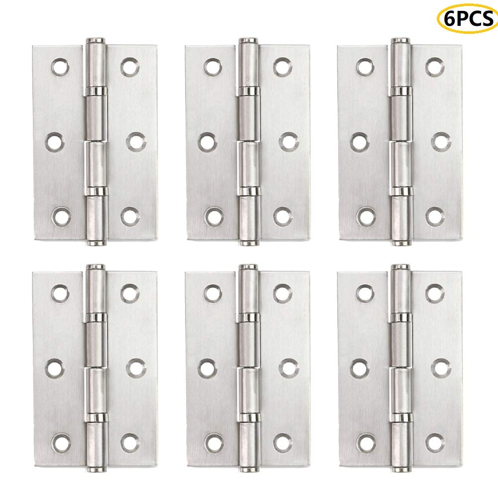 2.5Inch-6PCS Non Mortise Door Hinges White Window Hinges House Door Hinge Silver Hinges for Kitchen Cabinets Cupboard Doors Windows Drawers Dressers ALTBP Stainless Steel Butt Hinges Marine Grade