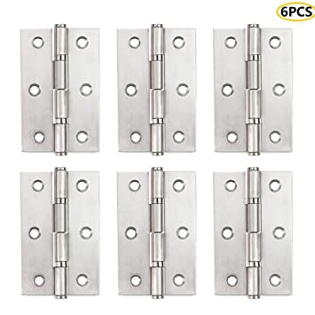 ALTBP Stainless Steel Butt Hinges Marine Grade Non Mortise Door Hinges White Window Hinges House Door Hinge Silver Hinges for Kitchen Cabinets Cupboard Doors Windows Drawers Dressers 2.5Inch-6PCS