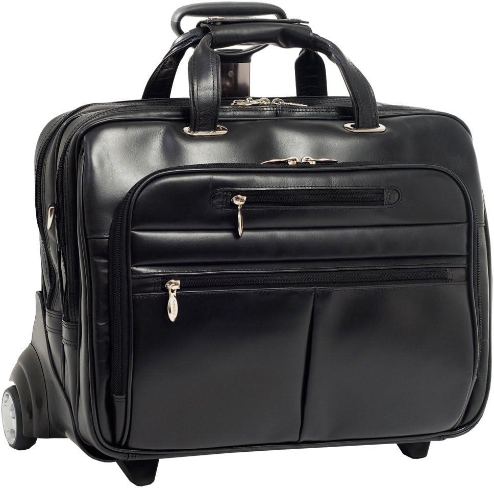 McKleinUSA Ohare 86535 Black Leather Fly-Through Checkpoint-Friendly 17 Detachable Wheeled Laptop Case