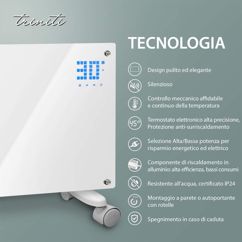 radiador de cristal de convecci/ón 1000-2000 W mando a distancia 2 ajustes calefacci/ón el/éctrica Panel termoconvector pantalla t/áctil montaje en pared cristal negro Triniti