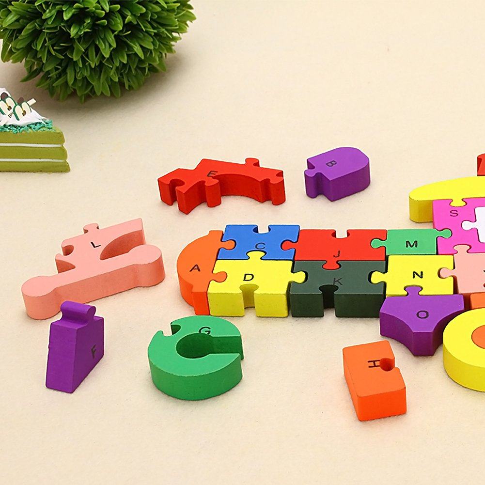 Wooden Blocks Jigsaw Puzzles, Letter & Numbers Puzzles Educational Toys Best Gift for Toddlers Kids Children Boys Girls (Dog+Train)