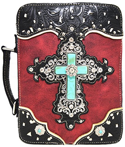 WF Western Style Embroidered Scripture Bible Verse Cover Books Case Cross Extra Strap Messenger Bag (#2 Red)