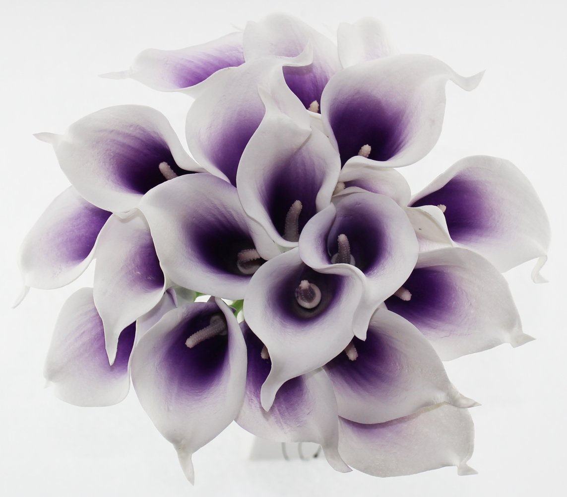 Simpleyourstyle Calla Lily Artificial Flower 20pcs No Vase Bridal Wedding Bouquet 20 Head Latex Real Touch Flower Bouquets (Purple Core White Flower)