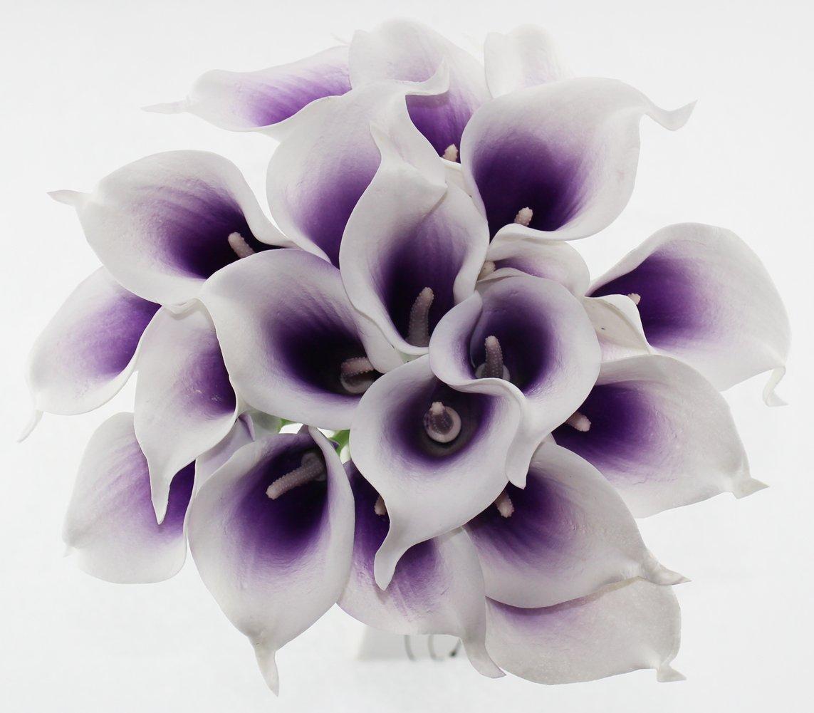 silk flower arrangements simpleyourstyle calla lily artificial flower 20pcs no vase bridal wedding bouquet 20 head latex real touch flower bouquets (purple core white flower)