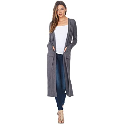 A+D Womens Maxi Duster Jersey Cardigan Sweater W/Pockets (Dk. H. Grey, X-Large) at Amazon Women's Clothing store