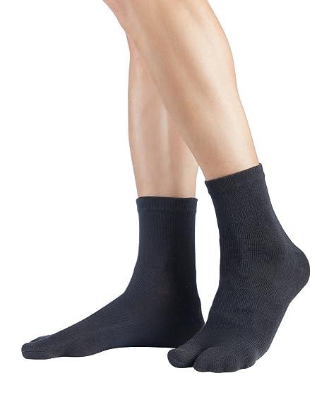 PIXNOR 3 paia cotone elastico Tabi calzini della punta (bianco + grigio + nero) NshvK