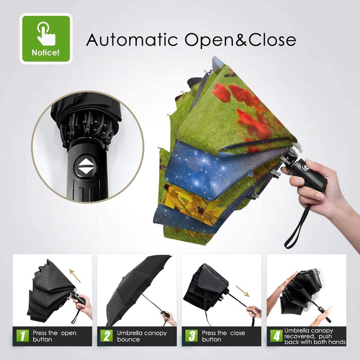 Green Meadow Flower Grass Nature Star Sky Compact Travel Umbrella Windproof Reinforced Canopy 8 Ribs Umbrella Auto Open And Close Button Customized