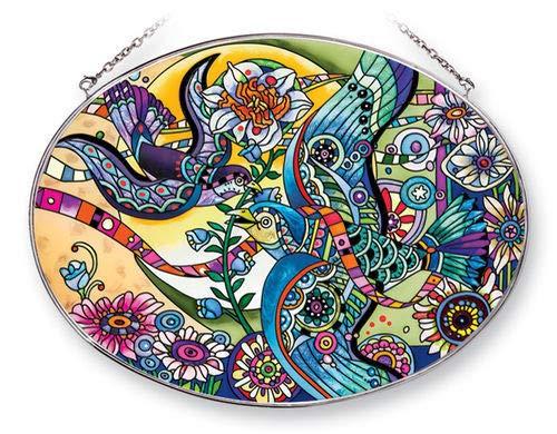 (Stained Glass Suncatcher 9 X 6.5 Oval Jaunty Spring Fantasy Birds)