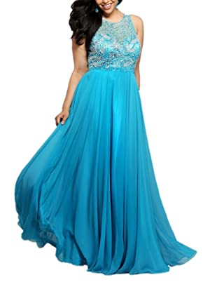 Winnie Bride Exquisite Jeweled Formal Evening Dress Plus Size Women's Prom Gown-10-Sky Blue