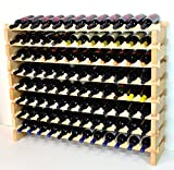 Modular Wine Rack Beechwood 48-144 Bottle Capacity 12 Bottles Across up to 12 Rows Newest Improved Model (96 Bottles - 8 Rows)