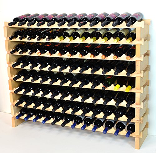 Modular Wine Rack Pine Wood 48-144 Bottle Capacity Storage 12 Bottles Across up to 12 Rows Stackable Newest Improved Model (96 Bottles - 8 Rows)