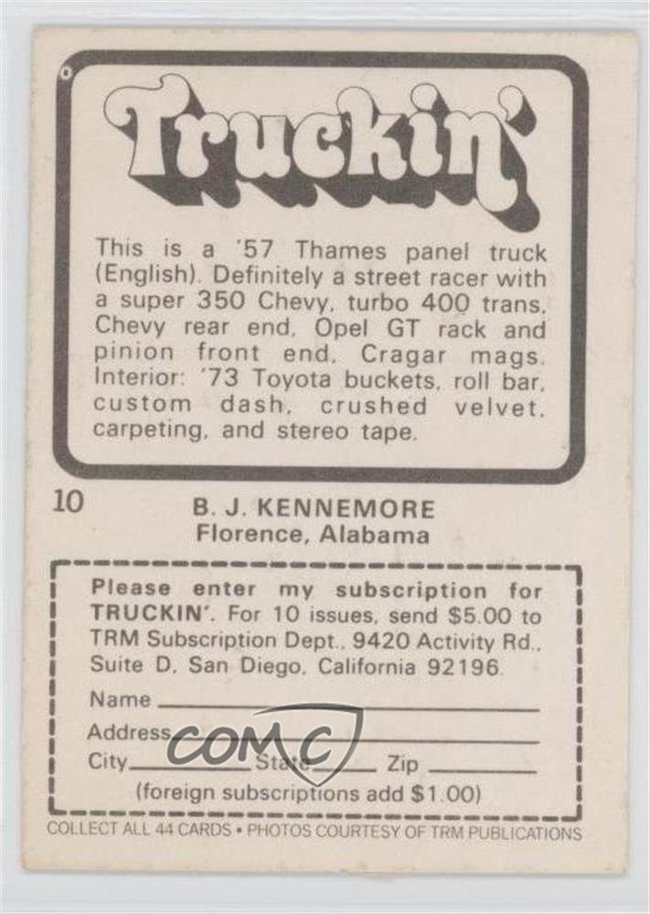57 Thames Panel Truck (Trading Card) 1975 Donruss Truckin - [Base] #10 at Amazons Entertainment Collectibles Store
