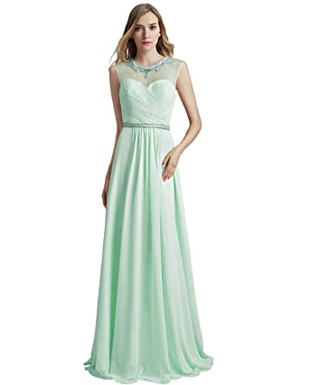 Sarahbridal Juniors Chiffon Sequin Prom Dresses Long Formal Sheer Neck Bridesmaid Ball Gowns Auqa US4