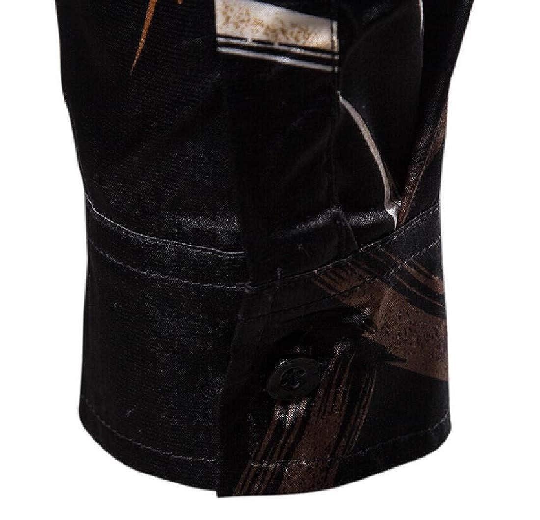 RkBao Mens Leisure Long-Sleeve Button Down Flat Collar Tops T-Shirts