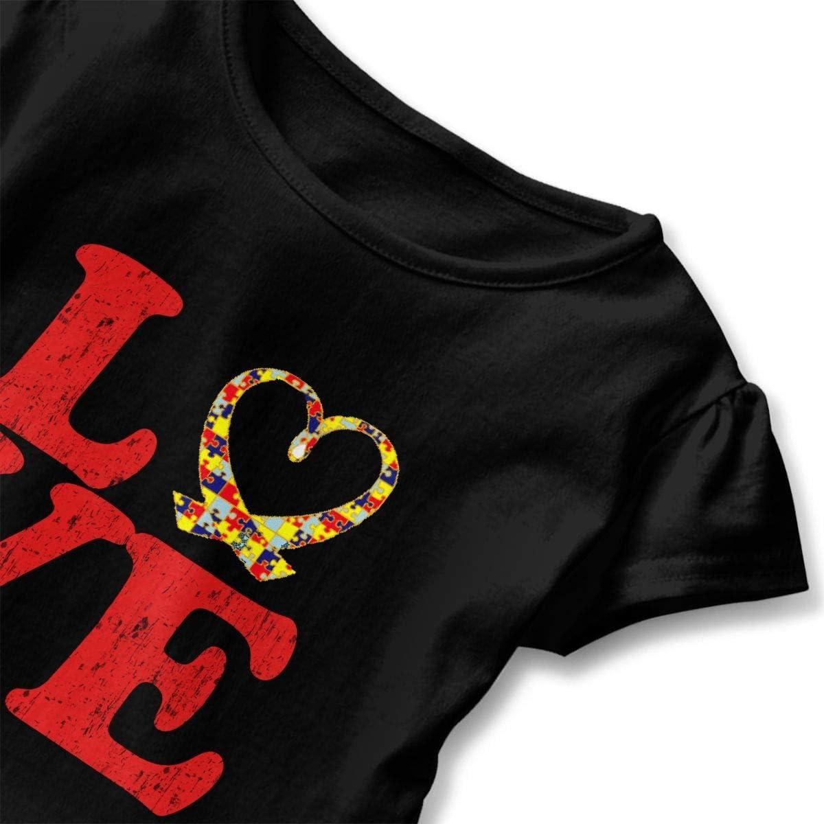 Cheng Jian Bo Autism Awareness Heart Toddler Girls T Shirt Kids Cotton Short Sleeve Ruffle Tee