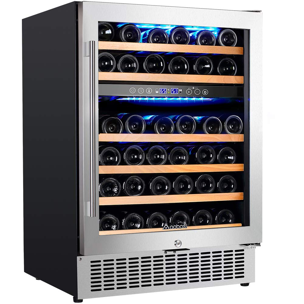 【Upgraded】Aobosi 24'' Dual Zone Wine Cooler 46 Bottle Freestanding and Built in Wine Refrigerator with Advanced Cooling System, Quiet Operation, Blue Interior Light | Easily Store Larger Bottles