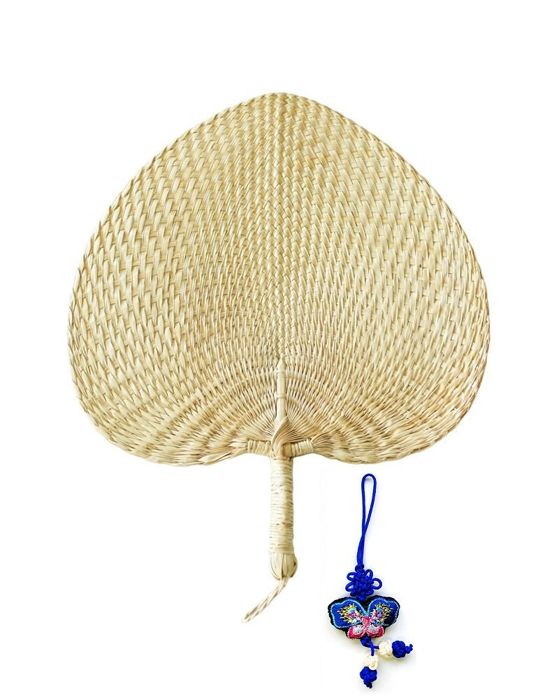 12'' Natural Raffia Fans, Whole leaf, Perfect for Summer Come With Butterfly Embroidery Pendant, Exquisite Handicraft 1pc