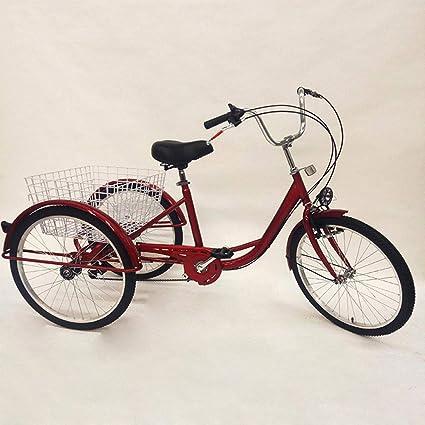 Triciclo adultos con cesta de 24 pulgadas, Triciclo de 3 ruedas con lámpara, Carrito