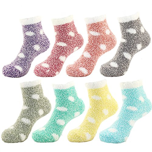 - BambooMN Women's Fuzzy Polka Dot Cuff Socks - Assortment 8A - 8prs